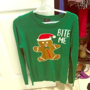 "Christmas sweater ""bite me"""